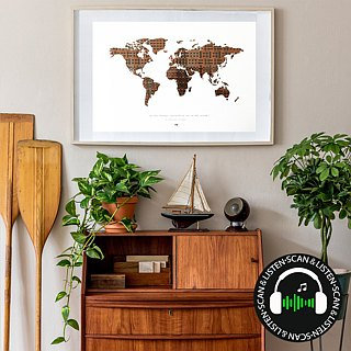 World Map poster | Handmade design | Include original Cassette tapes