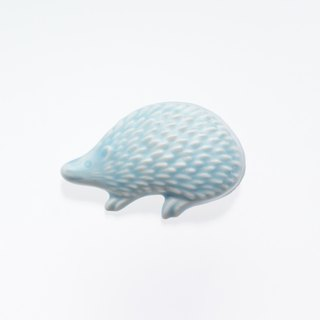 ceramics brooch hedgehog light blue