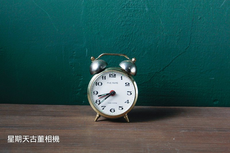 Vintage Golden Antique Alarm Clock Clocking on Single Day Clock