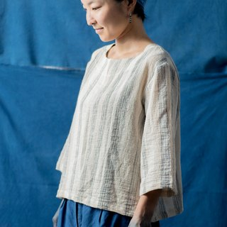 woman top | Indigo dyed mix natural color linen |.