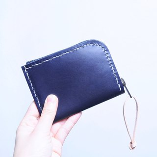 6咭 拉錬皮夹-绀蓝 NAVY Good sewing material bag short clip coin purse leather wallet
