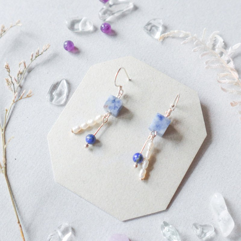 925 Silver Natural Stone Geometry Earrings - Long Holiday