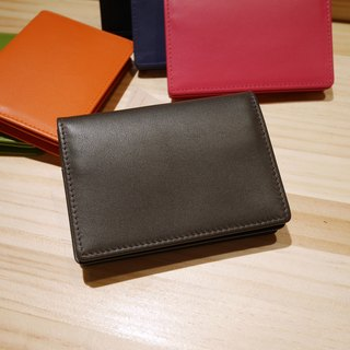 Colorful series - leather business card holder / dark coffee