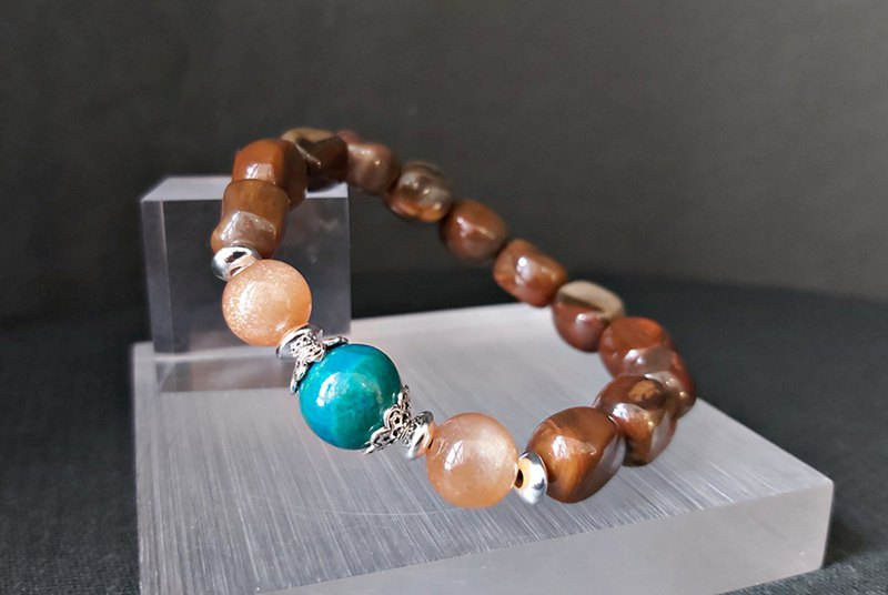 Brilliant - Natural Wood Fossil + Sunstone + Phoenix Stone Sterling Silver Bracelet