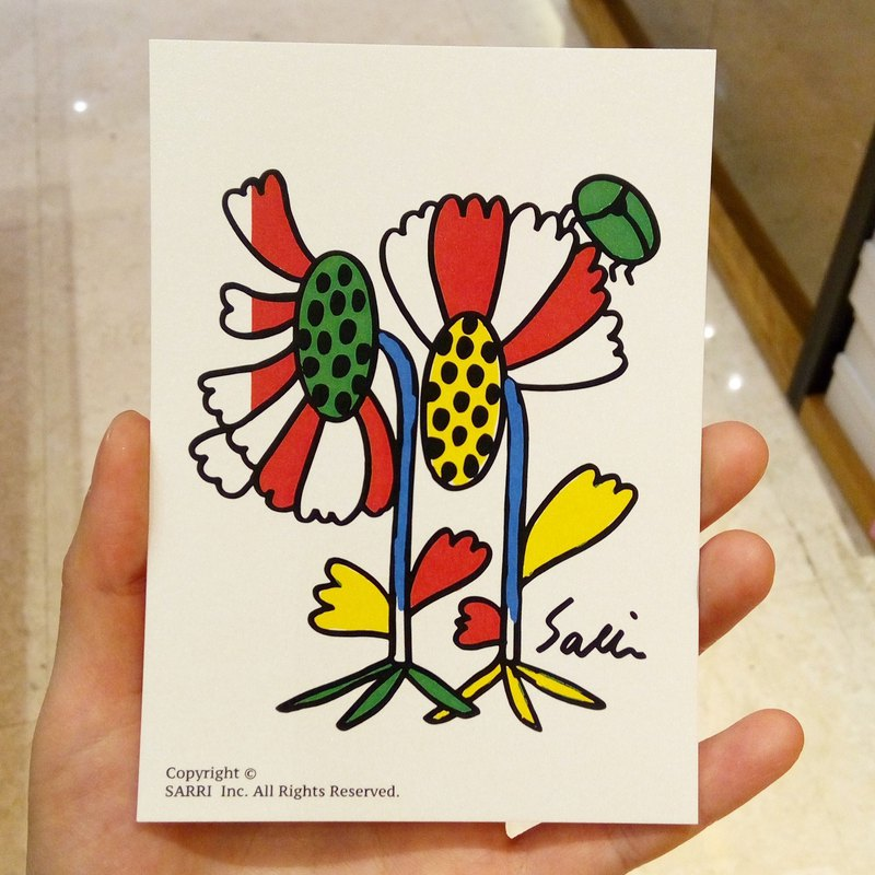 """Dung Beetles on Flowers"" (Can make A3-size posters) Birthday Card Design Coloring Illustration Drawings Cards Universal Cards Art Fine Arts Modern Lovers Love Special Interesting Weird Features Weird Cute Taiwan Yellow Fun Funny Eye-catching Tid"