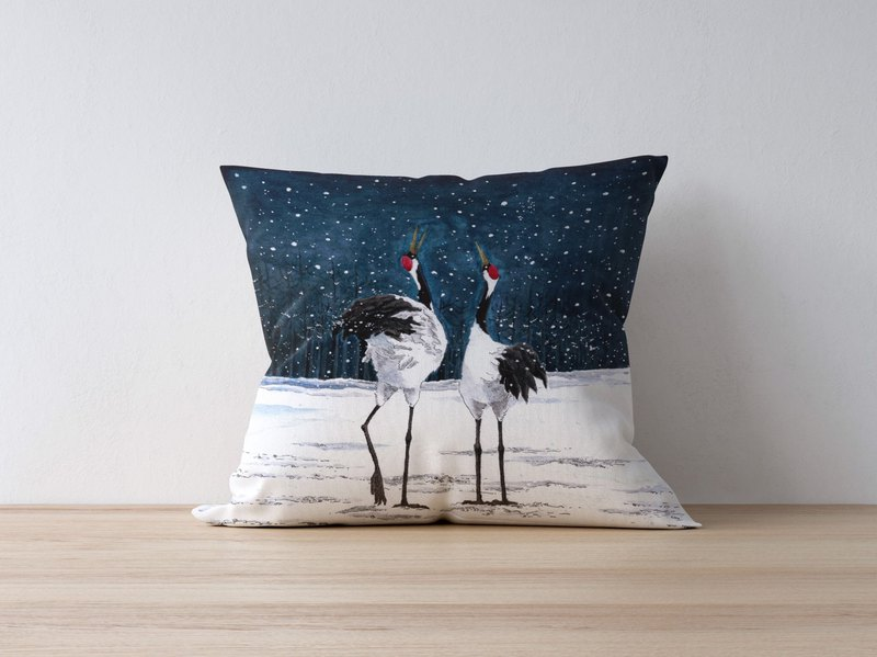 SECLUSION OF SAGE / Island Pillow - Red-crowned Crane Grus japonensis
