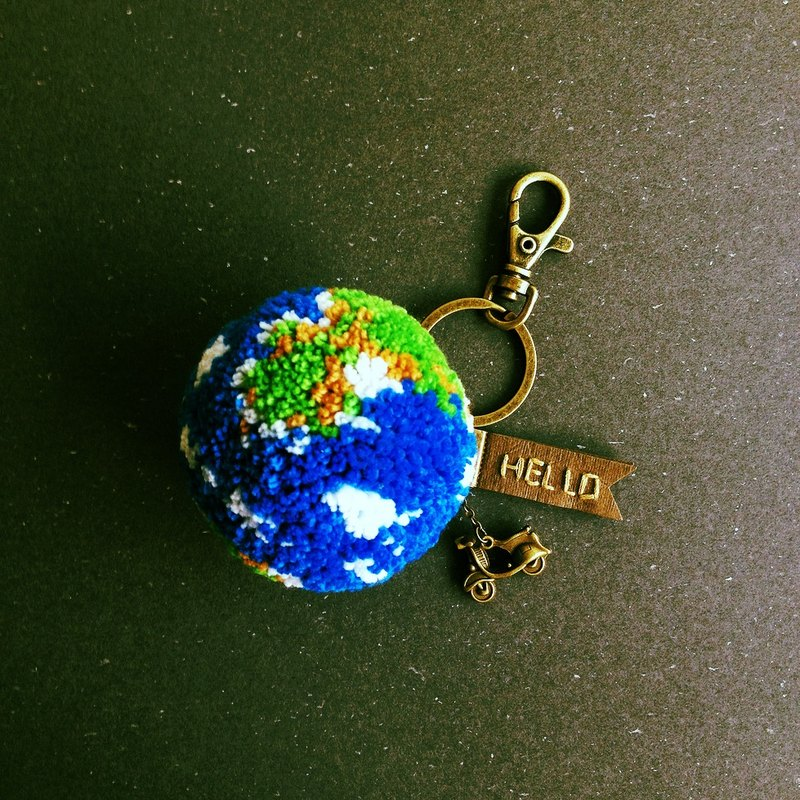 <Planet series> Travel meaning Earth handmade wool CHARM keychain custom hand-sewn designer