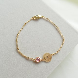 Flower Can Series 24K Zircon Bracelet - Pink