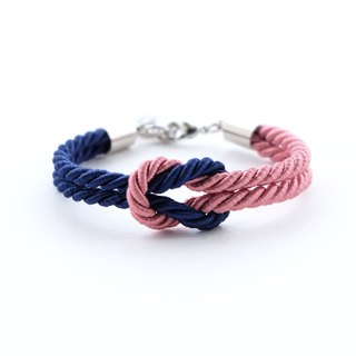 Navy blue / Dusty rose knot rope bracelet