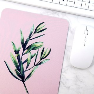 Natural Mouse Pad Pink Desk Mat Plants Illustration Office Accessories For Women