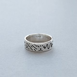 Doodle Silver Ring 004 - size 12JP