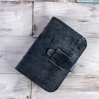 [Cut line] pure hand buckle leather fog wax A6 notebook hand blue