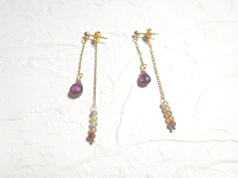 14K gold garnet purple bag around Dangle earrings (clip-on spiral can be changed)
