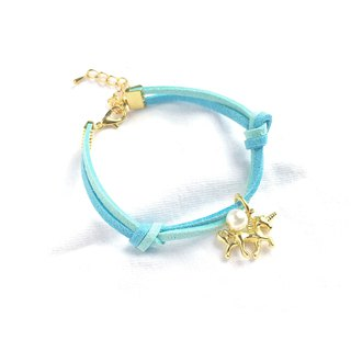 Handmade Simple Stylish Unicorn Bracelets Gold Series–blue