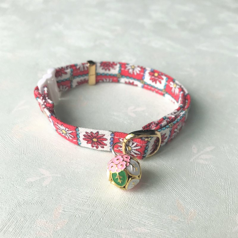 Pet Comfort Safety Collar Safety Buckle Collar (Cat Collar / Dog Collar) - Nordic Red Chrysanthemum