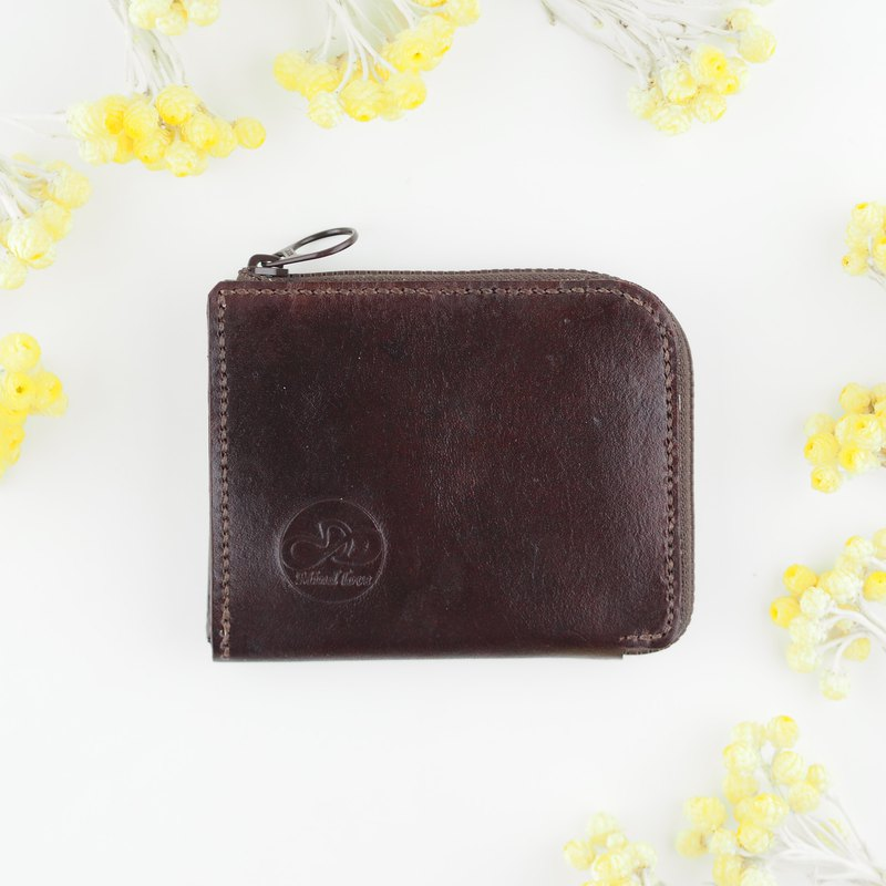 L-Zip Wallet Intellectual Coffee Red Handmade