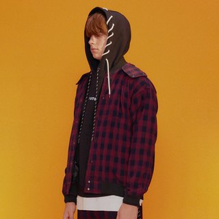 UNISEX DETACHABLE HOODED PLAID BASEBALL JACKET / Red / Blue