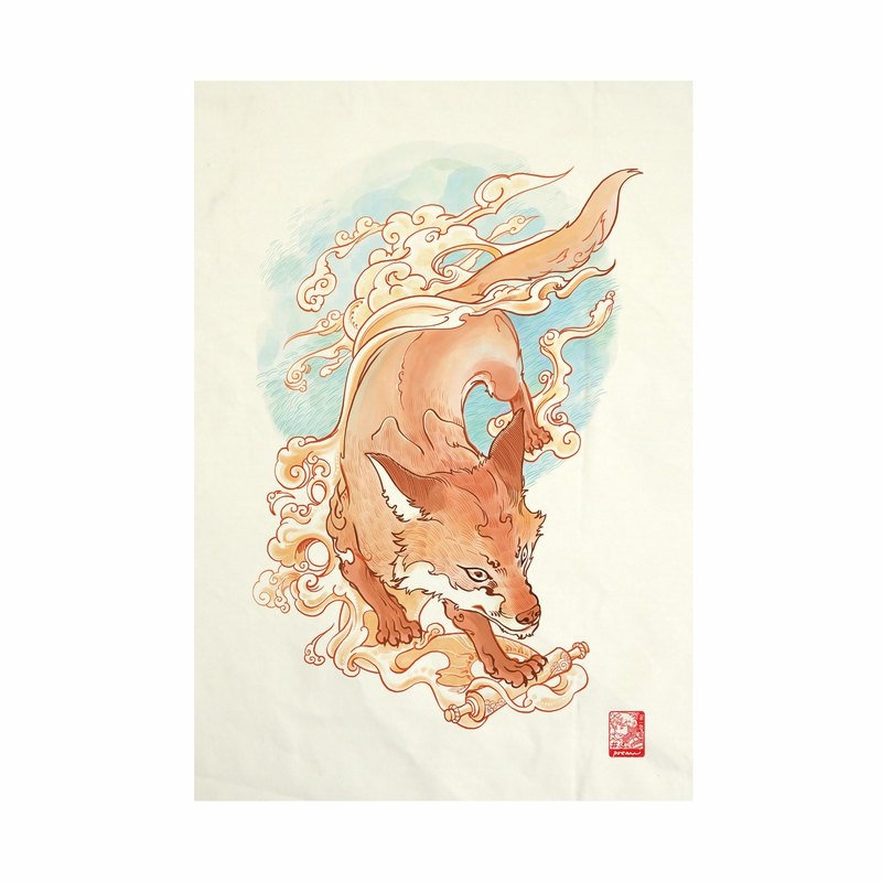 Firer Fox Fabric Art  Canvas No frame