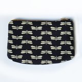 Dragonfly Zipper Pouch, Japanese Indigo, Small, Padded