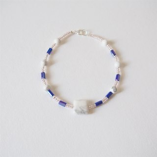 """KeepitPetite"" fresh temperament • white turquoise • blue tube beads • bracelet bracelet • gift"