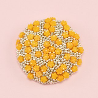 statement and sparkle beaded circle brooch, gorgeous brooch, orange and silver