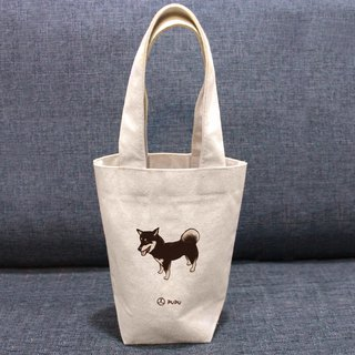 Black Chai - standing - Taiwan made cotton linen - Wenchuang Shiba Inu - environmental protection - beverage bag - fly planet