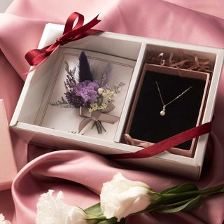 Carnation Flower Pearl Necklace Gift Set - Card Style