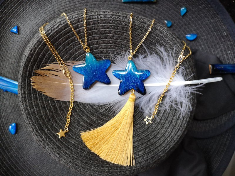 Wishing Meteor Necklace - Starry Tassel Necklace Handmade Wooden