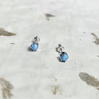 << Blue Star River >> blue color fire eye opal 925 pure silver ear ear earrings ear ear ear