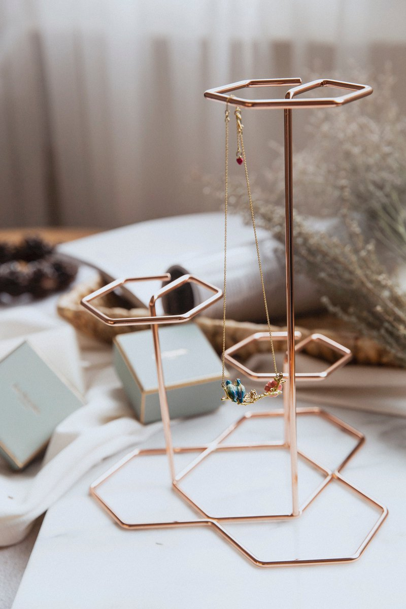 Experimental plan / zero 贰 / geometric lines - hexagon jewelry table - rose gold