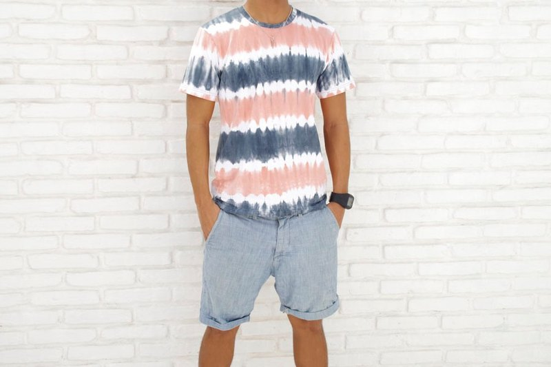 Men's Tie Dye crew neck stretch T-shirt <Sunset Beach>