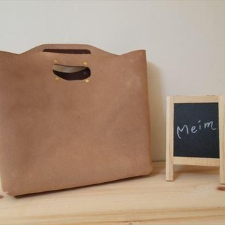 [MTO] floor leather A4 [natural] Handy bag [L]