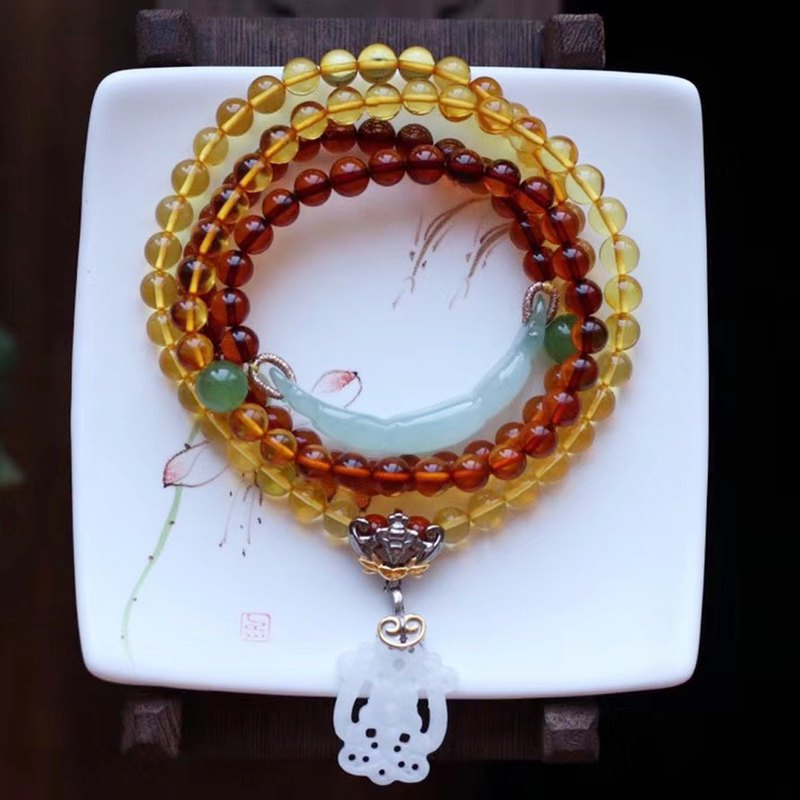 [New store welfare price] original natural rainbow amber bracelet / 108 beads can be a long necklace