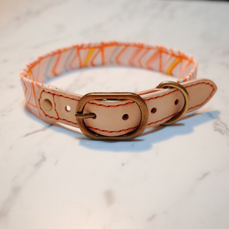 Dog Collar L No. Cheng Orange City Walking Block Irregular Japanese Cotton + Vegetable Teddy Tractor Tag Dog