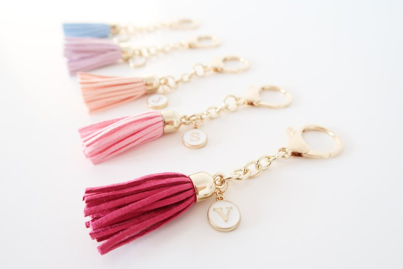 Personalized Initial Alphabet Tassel Keychain - Bridesmaid gifts Wedding gifts