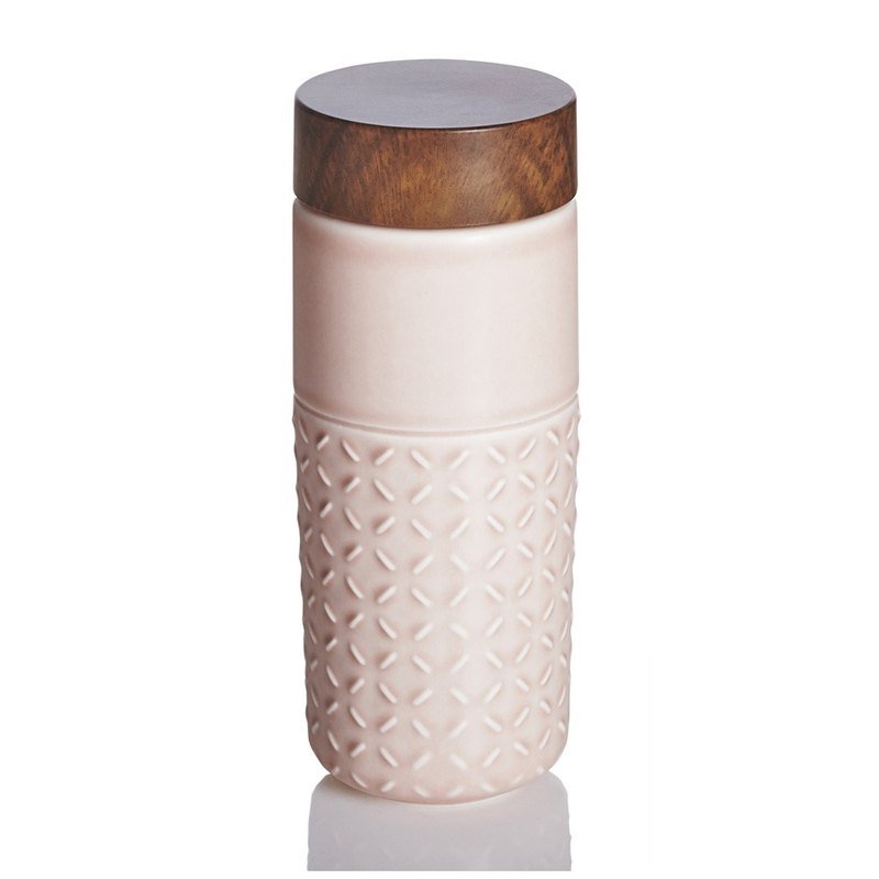 ONE O ONE portable cup _ fantasy starry sky / large / double layer / rose powder / imitation wood grain cover
