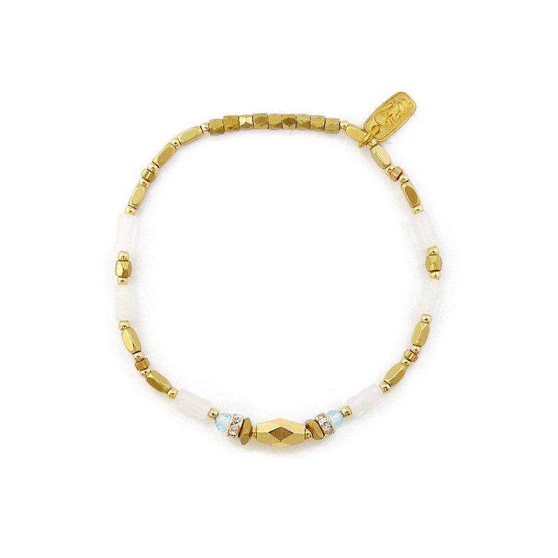 Ficelle |手工製作黃銅天然石手鍊 |【白玉】換日線