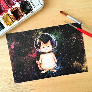 Postcard*glass ball cat*space cat