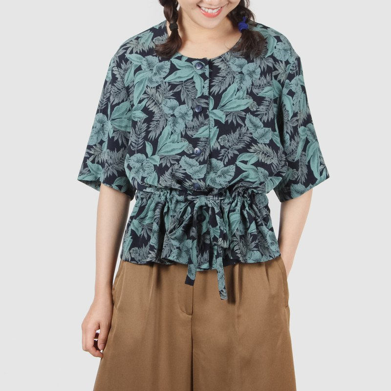 [Egg Plant Vintage] Late Night Rainforest Print Short Sleeve Vintage Shirt