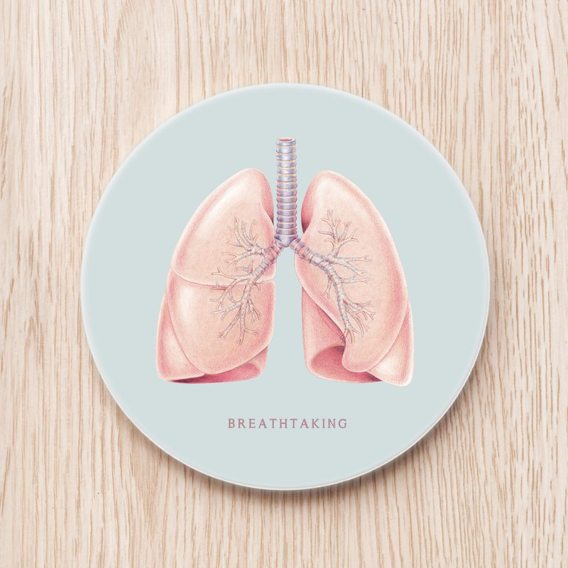 Breathtaking Stunning Lung Ceramic Cup Coaster Anatomy Scientific Organs Custom Gift