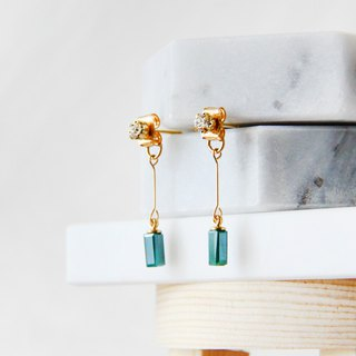 Small Diamond Crystal Column - Green Draped Earrings Earrings [Changeable Ear Clips]