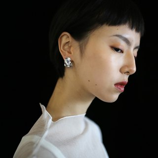 【Lava】 【Sealand sealand】 independent design | 925 silver original niche Irregular texture stud earrings