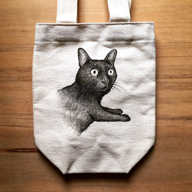 Sketch black cat and canvas bag