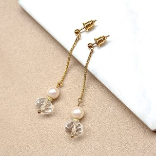 Snow Pearl White Crystal Cut Pearl Drop Earrings