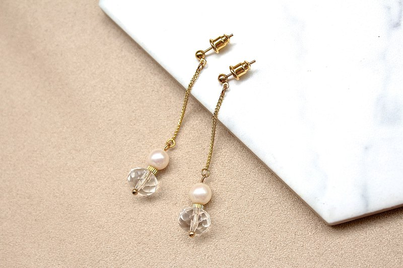 Snow Pearl White Crystal Cut Pearl Drop Earrings / Clip-on