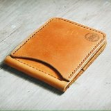 4 Card Slots Tan Oil Leather Money Clip Wallet.