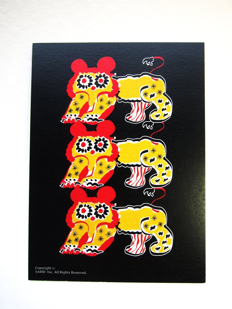 "Postcard ""Chinese style lion three brothers' birthday card design colored illustration Illustrated card Universal Card Art Valentine love modern art particularly interesting characteristics strange weird cute yellow Taiwan's fun eye-catching s"