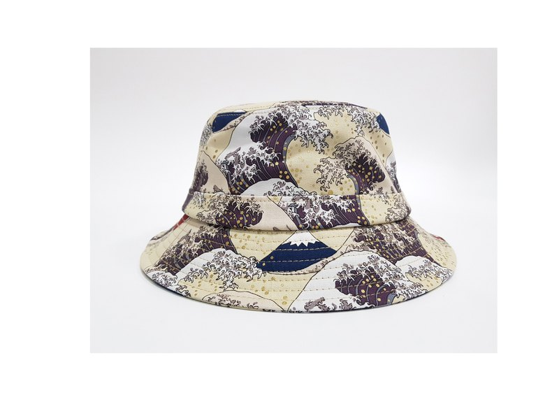 English-style disc gentleman hat ukiyo-e Mt. Fuji Mountain Mix (Lily White) #日式#礼物