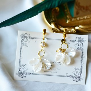 White Pearl & Shell Earrings / Ear Clips