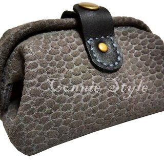 Gray leather embossed mini mouth gold purse